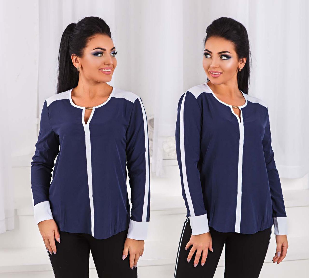"""Жіноча блуза у великих розмірах 1536-1 """"Софт Лампаси Манжети Контраст"""" в кольорах"""
