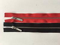 Застежка молния RIRI тип 4 метал полированная зубья серебро  60 см брелок Lang разъемная черный цвет тесьмы