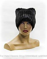 """Меховая шапка """"Кошка с тремя бубонами"""" (черная)"""
