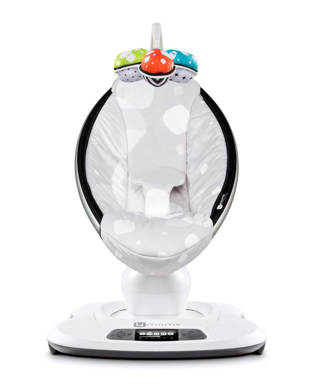 Електронний шезлонг-гойдалка 4moms MamaRoo Smart сіра в білий квадрат прокат в Харкові