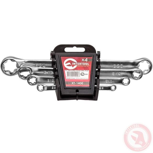 Набор накидных ключей TORX 4 шт. Т6-Т24 мм INTERTOOL XT-1400