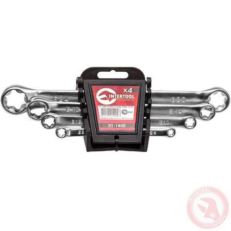 Набор накидных ключей TORX 4 шт. Т6-Т24 мм INTERTOOL XT-1400, фото 2