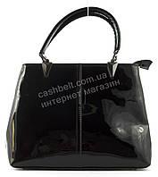 Удобная оригинальная стильная прочная женская лаковая сумка KISS ME art. 704 черная