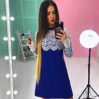 Неопреновое платье-трапеция с кружевом