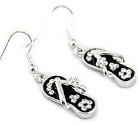 Серьги Dangle Black Slippers Earrings use Swarovski Crystal SE033 Код:124284554