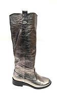 Сапоги женские демисезонные кожаные цвет серебро Uk0494