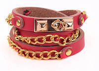 Кожаный браслет с золотыми вставками, бордовый (tb876) Код:124285880