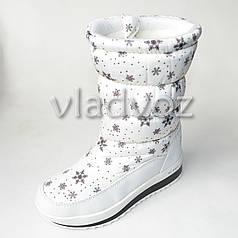 Зимние детские дутики на зиму для девочки сапоги белые снежинки 31р.