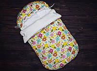 """Зимний конверт для новорожденного """"Цветочная поляна"""""""
