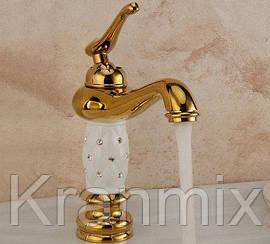 Золотой смеситель для раковины Aquaroom кран для умывальника в ванную в душ