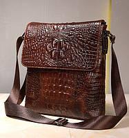 Мужская кожаная сумка из коровьей кожи с тиснением под рептилию на ремне. Сумка-барсетка.