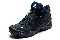 Зимние мужские кроссовки Adidas Terrex, на меху, темно-синие, р. 41 44
