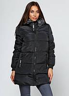 Пальто женское зимнее с нашивкой на спине черное, фото 1