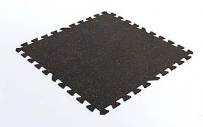Коврик-пазл под тренажер резиновый 1шт (черный)
