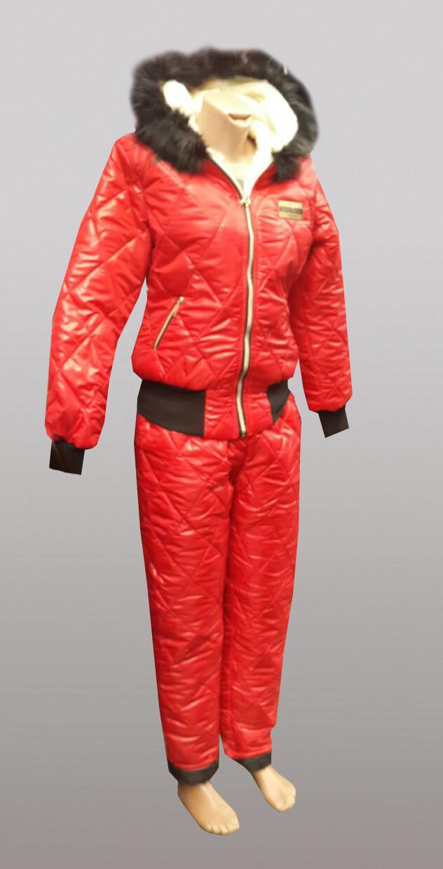 Стильный зимний  спортивные костюм на овчине  с капюшоном