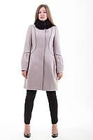 Молодежное кашемировое пальто с натуральным мехом песца