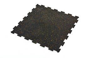 Коврик-пазл под тренажер резиновый 1шт 60х60х0,6 (черный)