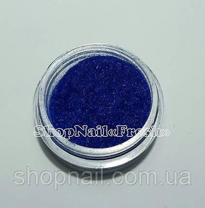 Бархат для дизайна ногтей, синий, фото 2