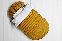 """Конверт детский зимний для новорожденного """"Snowball горчично-золотой"""""""