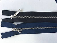 Застежка молния RIRI тип 4 метал полированная зубья серебро 75 см брелок Flach , Lang два разьема