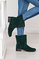 Замшевые женские сапоги зеленые зима/демисезон на выбор