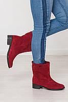 Замшевые женские сапоги бордовые зима/демисезон на выбор