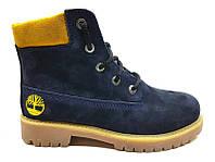Ботинки демисезонные подростковые Timberland нубук синие T0020-1
