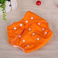 Подгузник многоразовый Qianquhui с флисом оранжевый
