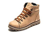 Ботинки на меху CAT Caterpilar, зимние, мужские, натуральная кожа, бежевые, р. 40 43 44 45