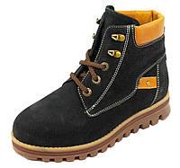 Кожаные зимние ботинки для девочки 36, 37 черные
