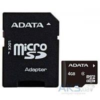 Карта памяти ADATA microSDHC 4GB Class 4 (с адаптером) (AUSDH4GCL4-RA1)
