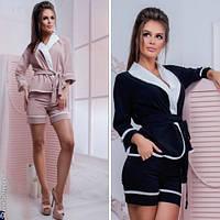 Модный женский костюм пиджак с поясом + шорты / Украина / бенгалин