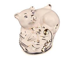 Фигурка декоративная Собачка на роге изобилия керамическая 9 см 101-753
