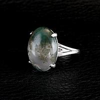 Агат моховый, серебро 925, кольцо, 720КА