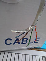 Кабель FTP Cat.5e Omega 4x2x(0,48CU), диаметр-6,0мм,цвет белый,длина 305м