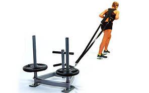 Сани тренировочные для кроссфита+петли CF6236 (металл, основание р-р 90х90х70см, h-80см)
