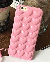 Силиконовый чехол розовые Сердца для iPhone 6/6S, фото 1