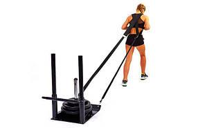 Сани тренировочные для кроссфита+петли QT1002A (металл, основание р-р 56х44см, h-80см)
