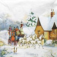 Салфетка для декупажа Зима в деревне 33*33 см, 1 шт