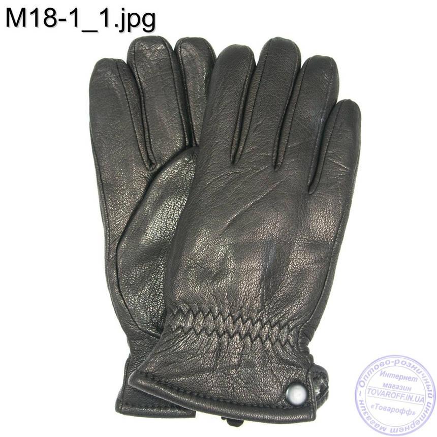 Мужские кожаные зимние перчатки из кожи оленя - M18-1, фото 2