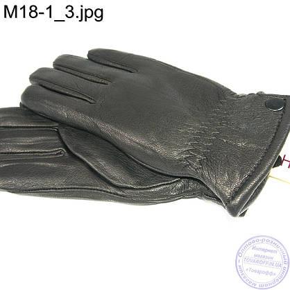Мужские кожаные зимние перчатки из кожи оленя - M18-1, фото 3