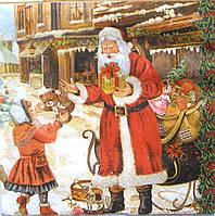 Салфетка для декупажа Дед мороз с детьми 33*33 см, 1 шт