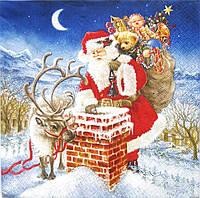 Салфетка для декупажа Санта у дымохода 33*33 см, 1 шт