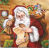 Салфетка для декупажа Санта с письмом 33*33 см, 1 шт