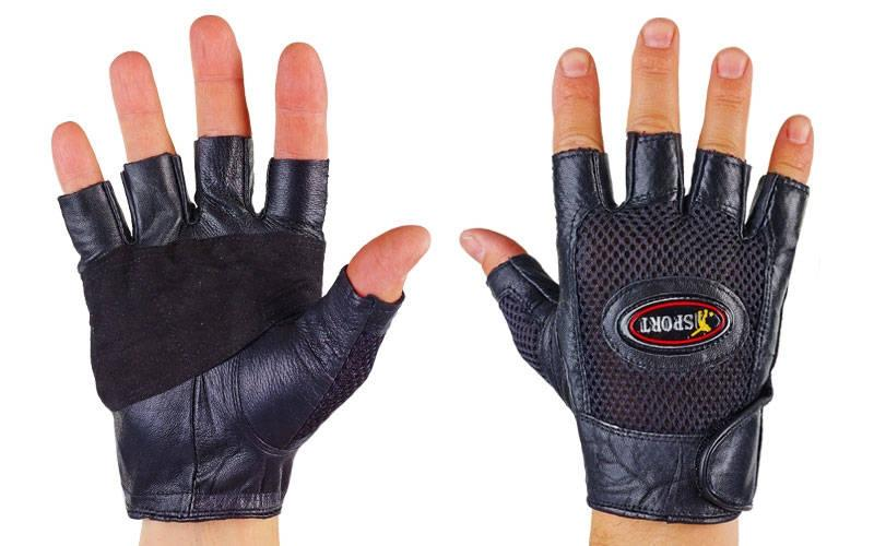 Перчатки спортивные многоцелевые BC-121 (кожа, откр.пальцы, р-р S-L, черный)Z
