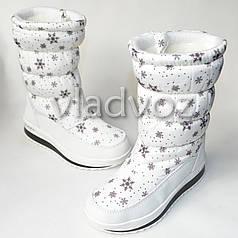 Зимние детские дутики на зиму для девочки сапоги белые снежинки 35р.