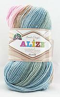 Alize Superlana Klasik Batik №2970 серо-розово-бирюзовый