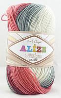 Alize Superlana Klasik Batik №5740 серо-бежево-розово-вишневый