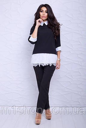 Женская блузка-туника с кружевом (Ителия lzn), фото 2