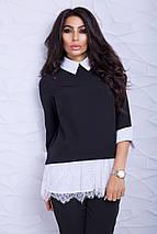 Женская блузка-туника с кружевом (Ителия lzn), фото 3